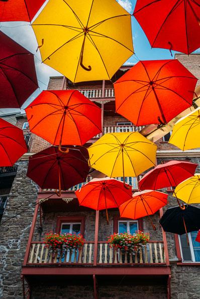 Colourful umbrellas in Quebec City's Quartier Petit Champlain
