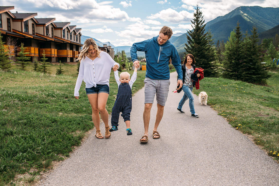 Family walking in Canmore