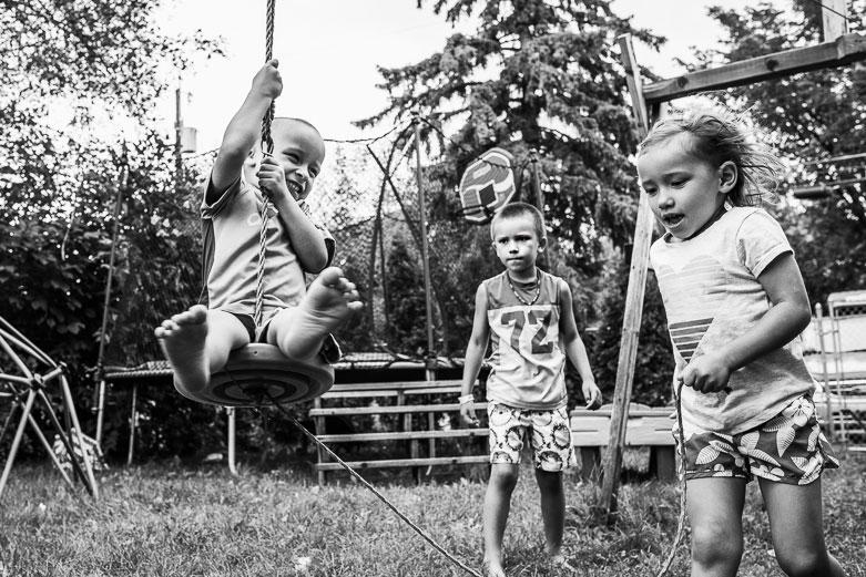 Kids playing on backyard zip line in Edmonton