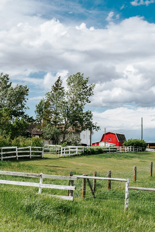 Red barn on a Southern Alberta acreage