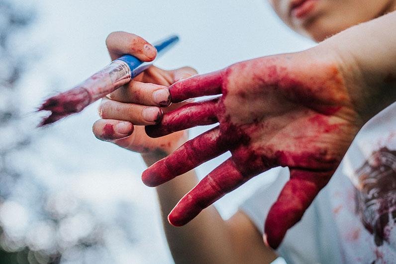 Painted kid's hands
