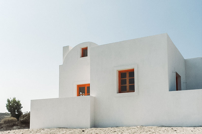 Clean and white Greek building