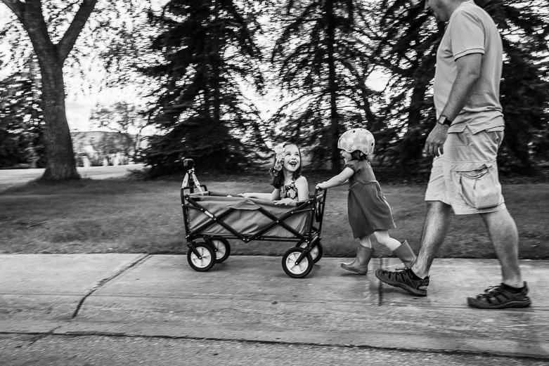 Toddler girl pushing her sister in wagon. Dad walks behing. Physical distancing photo session in Edmonton.