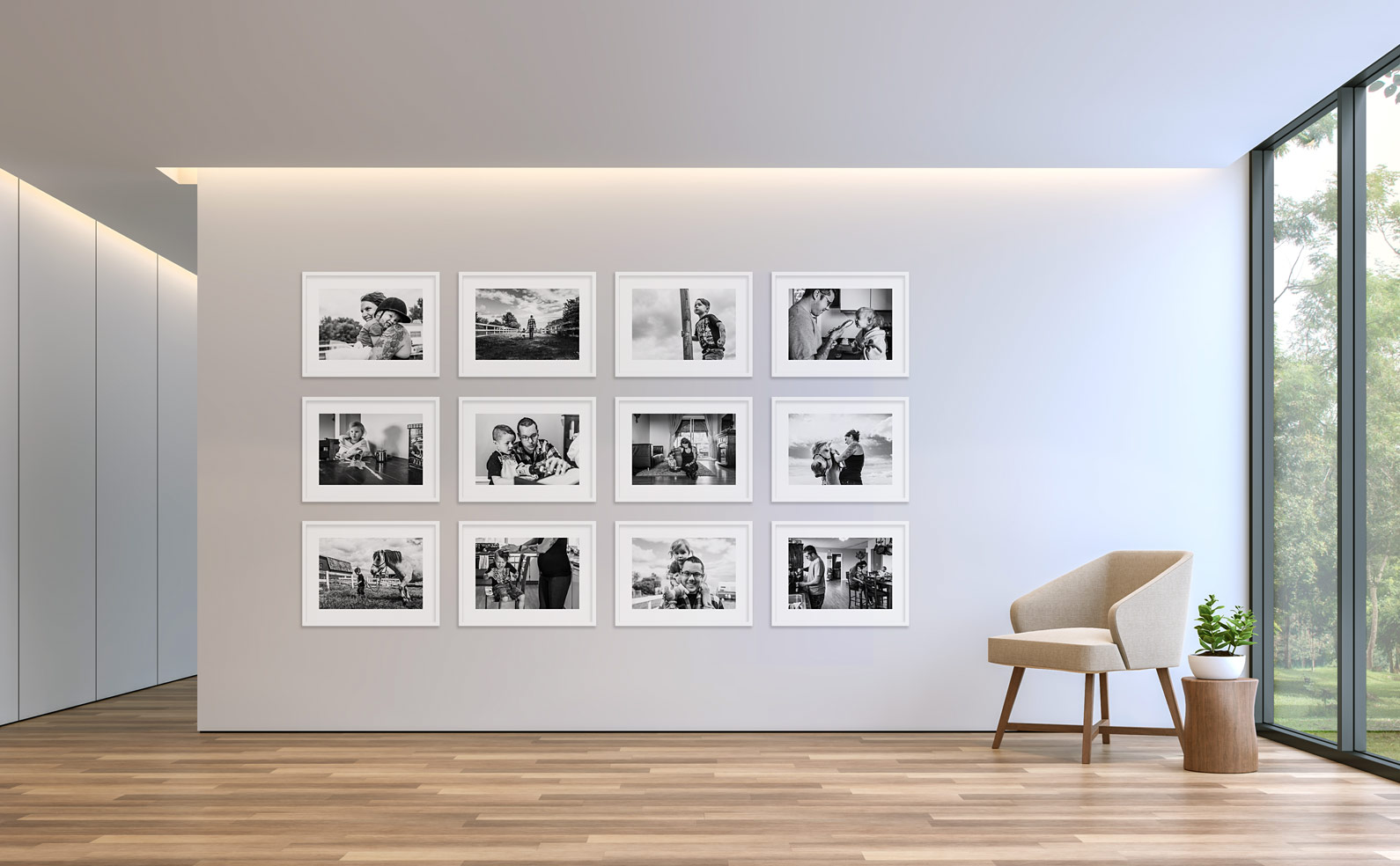 Framed photos gallery wall
