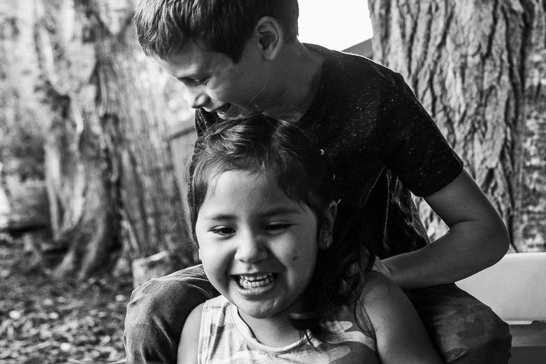 Brother and sister playing together | Sherwood Park family photography